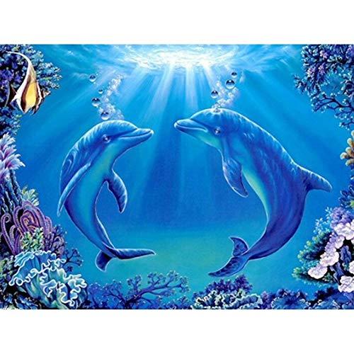 SINACO Kit de pintura de diamante 5D completo para bordado de diamantes de imitación para decoración del hogar, 2 delfines de 15,7 x 11,8 pulgadas, 1 paquete