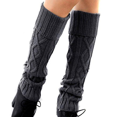 TININNA Inverno Caldo Uncinetto Leg scalda Scarponi Calzini Lungo Maglia Knit Calzini Manica Scaldamuscoli per Donne Signore Grigio