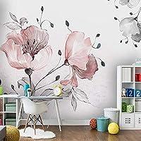 HGFHGD 3D防水壁画キャンバス壁紙手描き花花壁画中国絵画寝室リビングルーム紙背景壁ステッカー