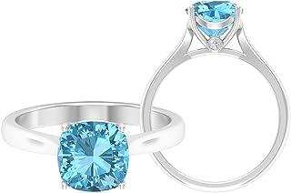 Anillo solitario de corte cojín de 8 mm, anillo de moissanita D-VSSI, anillo de promesa de oro, oro blanco de 14 quilates.
