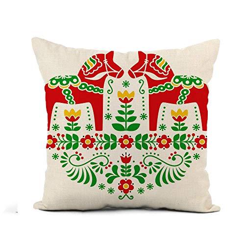 Fundas Cojines Fundas de Almohada Verde Sueco Dala Daleclarian Caballo Floral Folk Pattern Rojo Decoración para el hogar Cuadrado 45X45CM