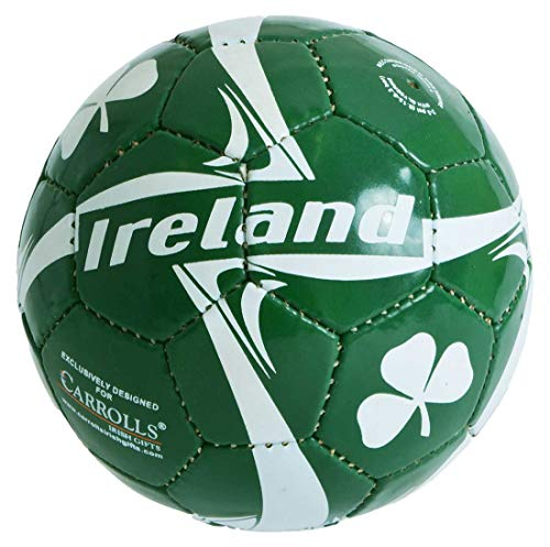 Carrolls Irish Gifts Ireland Designed Soccer Ball with White Shamrock Design, Size 5