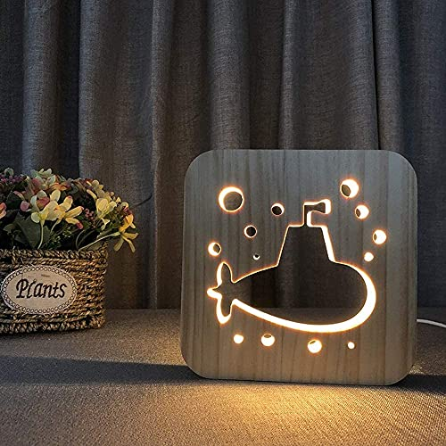 FHUA Lámpara Escritorio Dibujos Animados Lindo Submarino Creativo 3D Madera Hueca lámpara de Mesa Decorativa USB LED luz de Noche Dormitorio casa de ni?os Cumplea 19 * 19 cm Escritorio