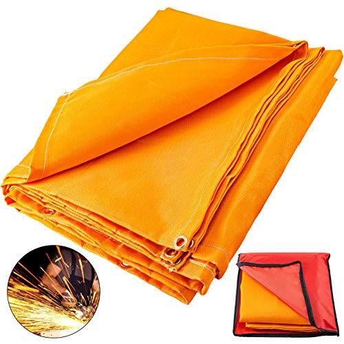 VEVOR Manta de Protección de Soldadura Manta de Fibra de Vidrio 10x10 FT / 3.05x3.05m Manta Ignífuga Resistente Naranja
