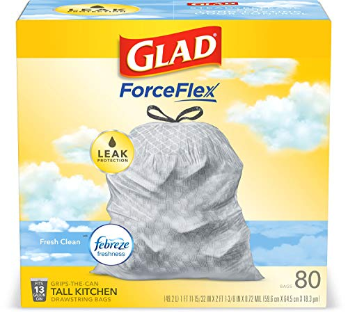 Glad ForceFlexPlus Tall Kitchen Drawstring Trash Bags 80-Count Now $7.25 (Was $15.99)