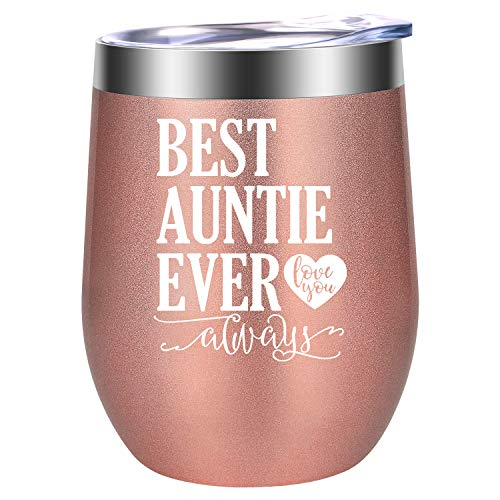 Aunt Gifts, Mothers Day Gifts for Aunts - Best Aunt Ever Gifts for Auntie from Niece, Nephew - Funny Aunt Birthday Gifts for Aunt, Sister - Aunt Pregnancy Announcement - LEADO Aunt Mug Wine Tumbler