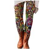 MINYING Legging Femme Imprimé, Legging Minceur Pas Cher Haute Moulant Collant Fantaisie Chic Fashion Imprimé Ethnique, Imprimé Animal, Printemps et Automne Rencontre avec Jupe, Robe de Bottes Courtes