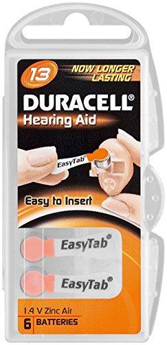 DURACELL Blister de 6 Piles auditives Easytab DA 13