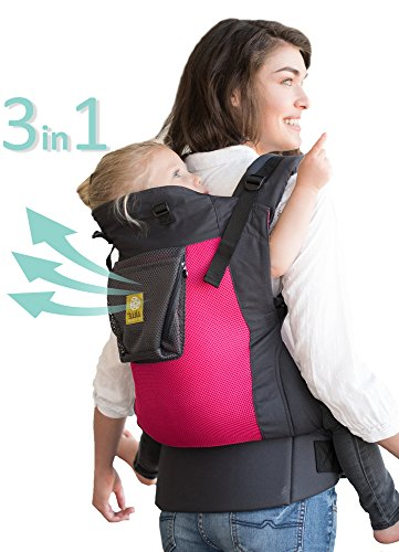 LÍLLÉbaby CarryOn Airflow 3-in-1 Ergonomic Toddler & Child Carrier, Charcoal/Berry - 20 to 60 lbs