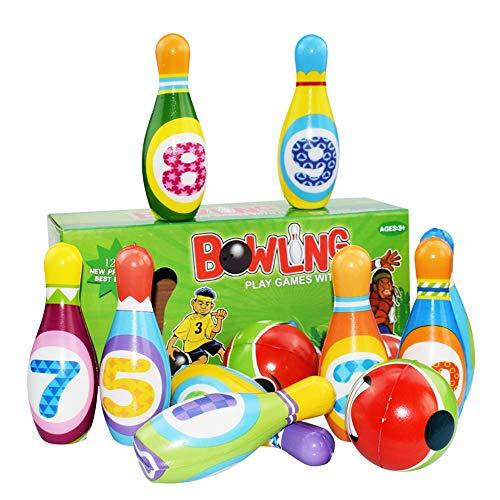 ZENING Kinder Bowling-Set, Familie Outdoor Indoor Bowling Spiel Mini Spielzeug Club Set pädagogisch frühe Entwicklung Sport Garten Spielzeug mit 2 Bällen 10 Flaschen für Mädchen Jungen