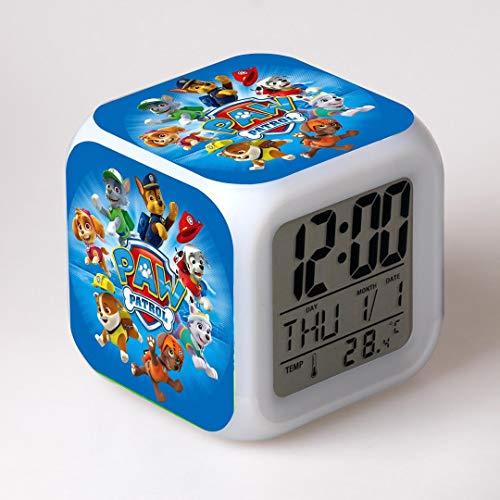 ZZTX FASHION Schlafzimmer Wecker für Kinder, Nachttischwecker mit 7 Farben Nachtlicht, Mini Music Wake Up Wecker mit 8 Sounds, Geschenk für Jungen Mädchen,C