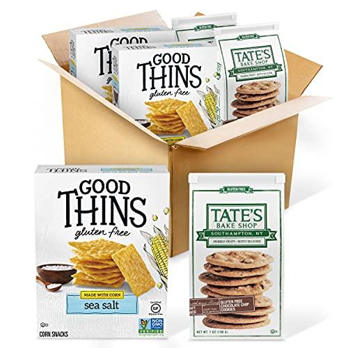 Good Thins Sea Salt Corn Snacks Gluten Free Crackers & Tate's Bake Shop Chocolate Chip Gluten Free Cookies Variety Pack, School Lunch Box Snacks, 4 Packs