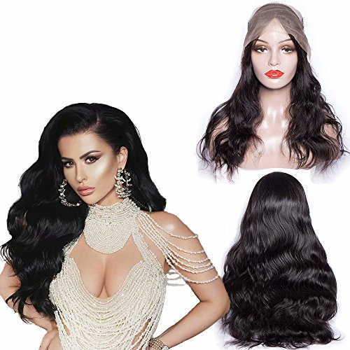 Maxine Hair 130% Density 10A Great Body Wave Human Hair Wig Pre Plucked and Bleached Knots Brazilian Body Wave Lace Front Wigs for Black Women Natural