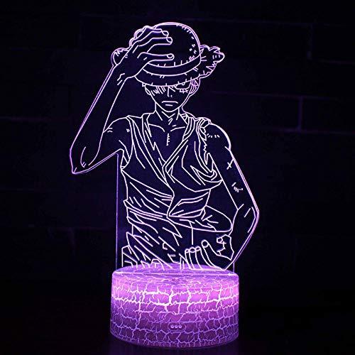Nachtlichter 3D-Nachtlichter Illusionslichter Buntes Touch-USB-One-Piece-King-Ruffy-Thema beleuchtet Farbwechsel-Stimmungslichter Weihnachtsgeschenke