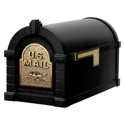 Gaines KS-7A - Eagle Keystone Series Mailboxes - Black/Polished Brass