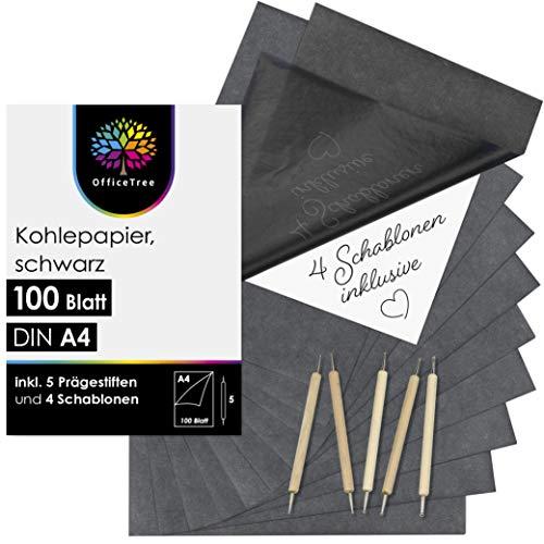 OfficeTree 100 Blatt Kohlepapier A4 Schwarz Pauspapier Carbon Paper - Mit 5 Prägestiften und 4 Motivschablonen zum Übertragen