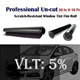 Mkbrother Uncut Roll Window Tint Film 5% VLT 30' in x 10' Ft Feet Car Home Office Glasss