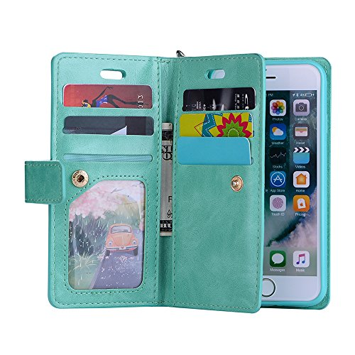 FOLICE Apple iPhone 6S Case, iPhone 6G Case, Zipper Wallet Case [Magnetic Closure]& 9 Card Slots, PU Leather Kickstand Wallet Cover Durable Flip Case for Apple iPhone 6S & iPhone 6G (Mint Green)