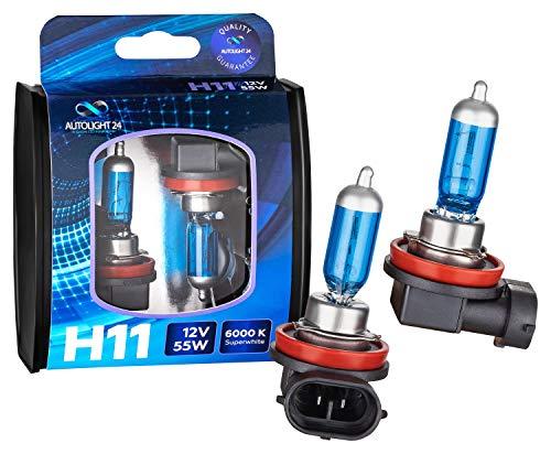 AUTOLIGHT 24 I 2x H11 Xenon Look Halogen Lampen Birnen, mehr Licht, Halogen-Scheinwerferlampe, Duo Box Super White 6000 Kelvin 12 Volt 55 Watt