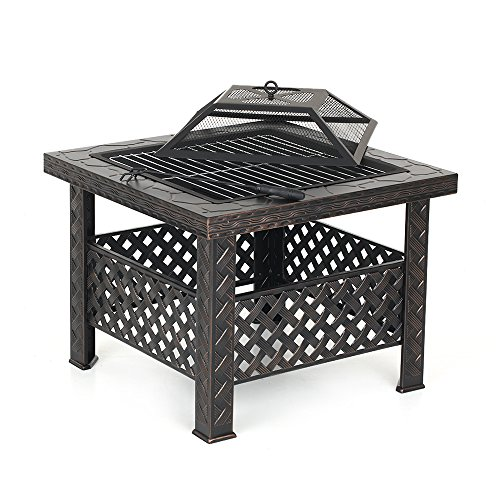 IKAYAA Metal Garden Backyard Fire Pit Patio Square Firepit Stove Brazier Outdoor Fireplace With Iron Poker BBQ Grill Size 68 * 45 * 13cm