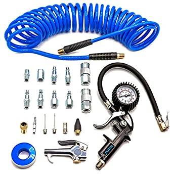 YOTOO Heavy Duty Air Compressor Accessories Kit 20 Pieces with 1/4 inch x 25 feet Polyurethane Air Compressor Hose 100 PSI Tire Inflator Gauge Air Blow Gun and Air Hose Fittings