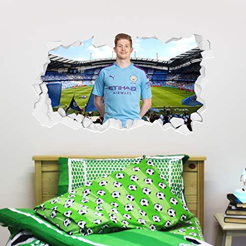 Manchester City FC De Bruyne Broken Wall Wandaufkleber, offizielles Fußball-Design, Vinyl, 60 x 40 cm