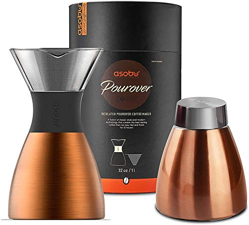 asobu Black Insulated Pour Over Coffee Maker (32 oz.) Double-Wall Vacuum, Stainless-Steel Filter and Take on the Go Carafe (Copper)