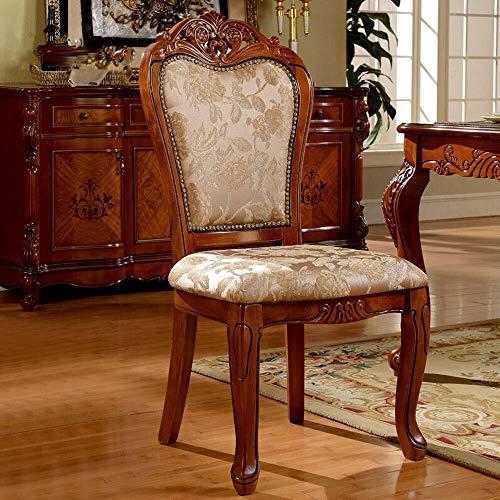 LHQ-HQ Silla de comedor comedor silla del ocio Silla Europea estilo de madera labrada silla de Negociación Sillón Fácil de montar 2 piezas for sillas de cocina (Inicio Color: Marrón, Tamaño: 50x58x106
