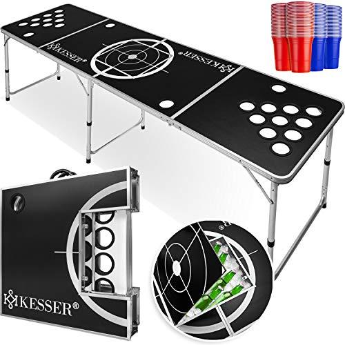 KESSER® Beer Pong Tisch Set - Inkl.Eisfach + 100 Becher (50 Rot & 50 Blau), 6 Bälle, + Regelwerk Classic
