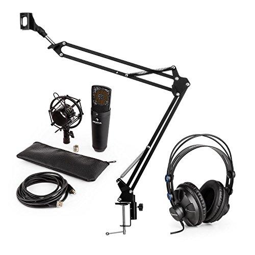 auna MIC-920B Mikrofon-Set V3 Studiokopfhörer + Kondensatormikrofon + Mikrofonarm (Over-Ear-Hörmuscheln, USB-Mikrofon, Mikrofonspinne, Mikrofonhalter, 1,5 kg Tragkraft) schwarz