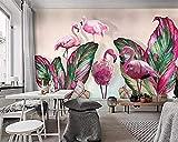 XHXI Papel de pared Decoración para el hogar Sala de estar Dormitorio Mural Planta Hoja de plátano Flamingo TV Fondo de par papel Pintado de pared tapiz Decoración dormitorio Fotomural-400cm×280cm