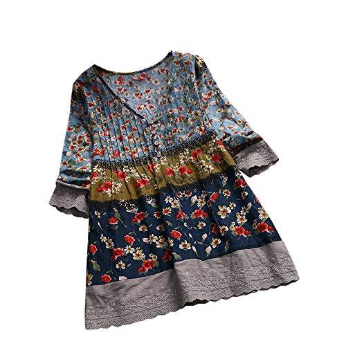 iHENGH Damen Bequem Mantel Lässig Mode Jacke Frauen Frauen mit Langen Ärmeln Vintage Floral Print Patchwork Bluse Spitze Splicing Tops(Marine-a, M)