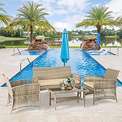 Aoxun 4 Piece Patio Conversation Set Wicker Patio Furniture, Outdoor Rattan Bistro Set for Terraces Poolsides and Cafes, Loveseat & 2 Cushion Chairs and Glass Coffee Table,Beige