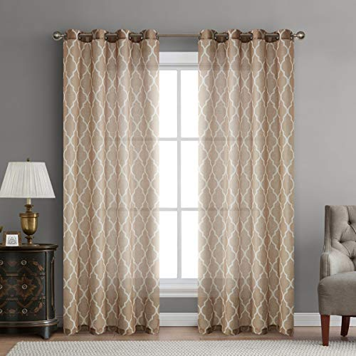 """LoyoLady Taupe Geometric Sheer Linen Curtains 102 inches Long 2 Panels Set Grommet Bedroom Window Curtains & Drapes 52"""" W x 102"""" L"""