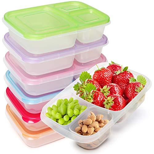 Kurtzy Bento Porta Alimentos Fiambrera Reutilizable 3 Compartimentos (Pack de 7) Apta para Microondas, Lavavajillas y Congelador – Fiambrera Apilable de Plástico con Tapas para Adultos y Niños