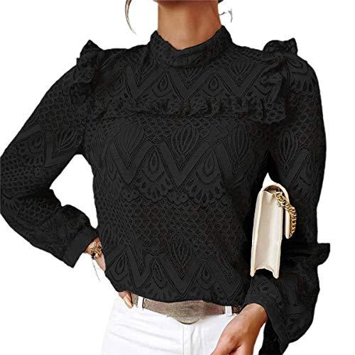 Blusa Donna Camicia Top in Pizzo Elegante Vintage a Maniche Lunghe Collo Alto per Primavera/Autunno (Nero, L)
