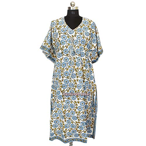 iinfinize Indien Baumwolle Hand Block gedruckt Kaftan Schwimmen Badeanzug Strand Traditionell Langes Kleid Bademode Kleid Pool Party Wear Kleid Einzigartiges Kleid