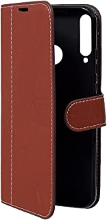 Lishen Leather Flip Cover For Huawei Y7P - Brown