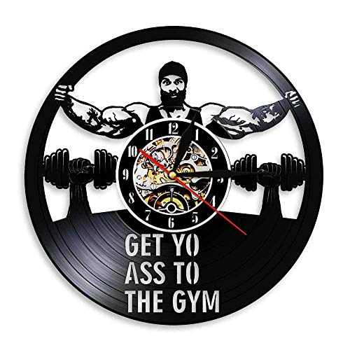 CVG Get Yo Ass To The Gym Workout Dumbbell Reloj de Pared con Registro de Vinilo Sin Dolor No Hay Ganancia Diseño de Fitness Decoración de Pared Reloj de Pared Regalo para él