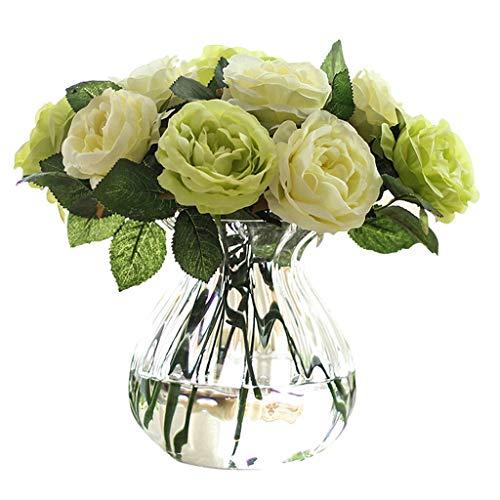 Natural Decoración de la Flor Falsa Flor de la simulación Rose Salón Dormitorio de café Floral decoración de la Tabla Falsa Calentar (Color : Green6 White+6 Green+1 Bottle)