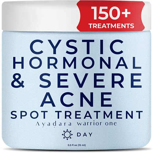 Ayadara Cystic, Hormonal & Severe Acne Spot Treatment   Natural Pimple Cream with Salicylic Acid & Tea Tree for Teens & Adults   Zit, Milia, & Dark Spot Corrector for Face & Body   150+ Treatments
