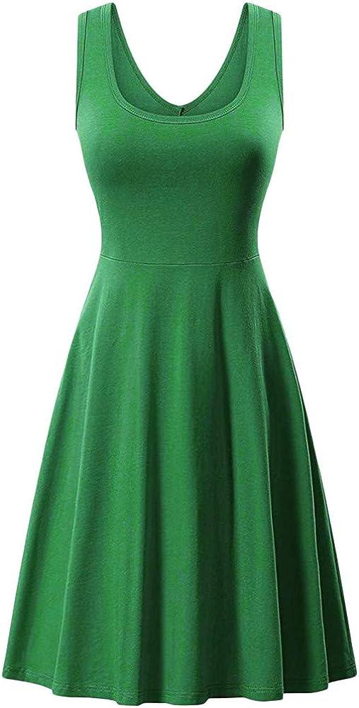 Quealent Women's Summer Solid Sleeveless A line Waistline Midi Dresses Beach Casual Flared Tank Dress