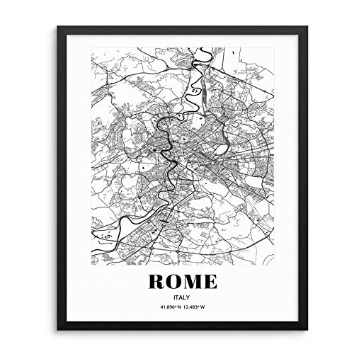 """Rome City Grid Map Art Print Italy Cityscape Road Map Wall Poster 11""""x14"""" UNFRAMED Black White Modern Urban Home Decor Artwork for Living Room, Bedroom, Entryway, Home Office or Gift (ROME)"""