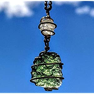 Moldavite & Phenacite Necklace in Real Gold Meteorite Crystal Pendant
