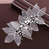 JYDQM La nueva joyería de la joyería de la joyería de la flor de la flor de la joyería de la flor de los accesorios para el cabello de la perla de la tiara de la perla adornos de las hojas de las muje