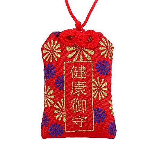 Wakauto Omamori Charme Japanischer Schrein Glück Amulett Segen Tasche für Eine Gute Gesundheit (Rot)