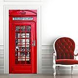 JJBWZX Pegatinas De Puerta 3D Etiqueta De La Puerta Cabina Telefónica Roja De Londres 88X200Cm Vinilo Papel Pintado Autoadhesivo Puertas Impermeable Arte Calcomanía Murales Hogar Dormitorio Decoración