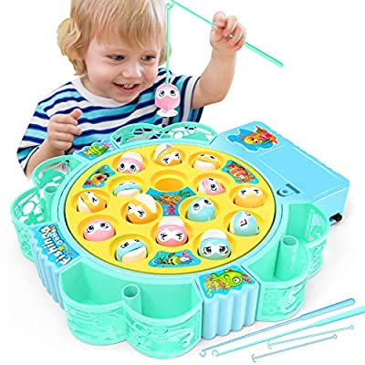 NARRIO Educational Toys for 2 3 4 5 Year Old Boys Birthday Gift, Rotating Board Fishing Game for Kids Age 3-5 Years, Christmas Stocking Stuffers Gifts for 2 3 4 Year Old Boys Toddler Toys Age 2-6