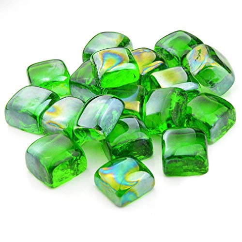Stanbroil 10-Pound 1-Inch Fire Glass Cubes for Fireplace Fire Pit, Emerald Green Reflective