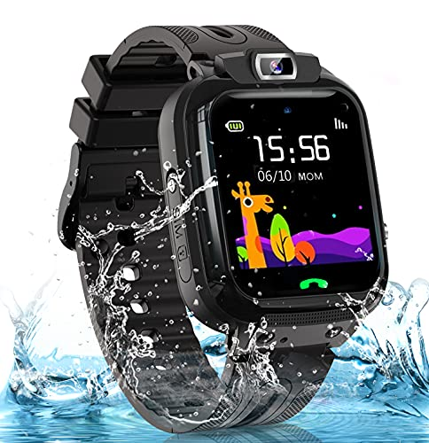 Kids Smart Watch for Boys Girls, IP67 Waterproof Smart Watch for Kids w GPS Tracker, HD Touch Screen Call Voice Chat Camera Cell Phone Watches for Children 3-14 Ages(Black)